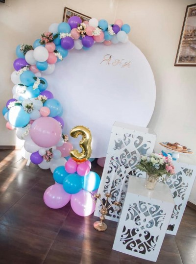 Арка в  розово синьо и лилаво за декорация на детски рожден ден - принцеси