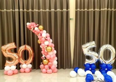 Фолиеви балони върху основа за декорация на рожден ден и юбилей