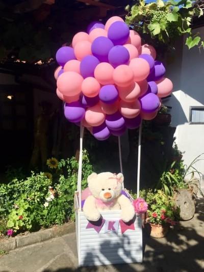 Мече в розов балон за декорация на детски рожден ден