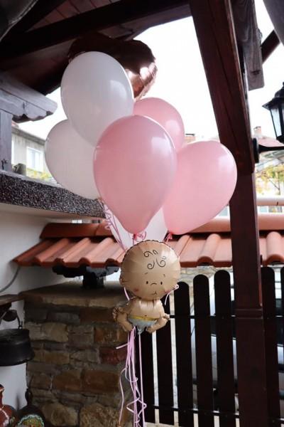 Балони  с хелии в розово за бебе