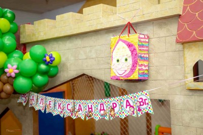 Банер и пинята за детско парти Маша и мечока