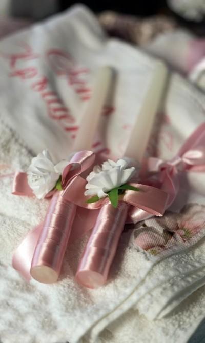 Ритуални свещи за кръщене в розово