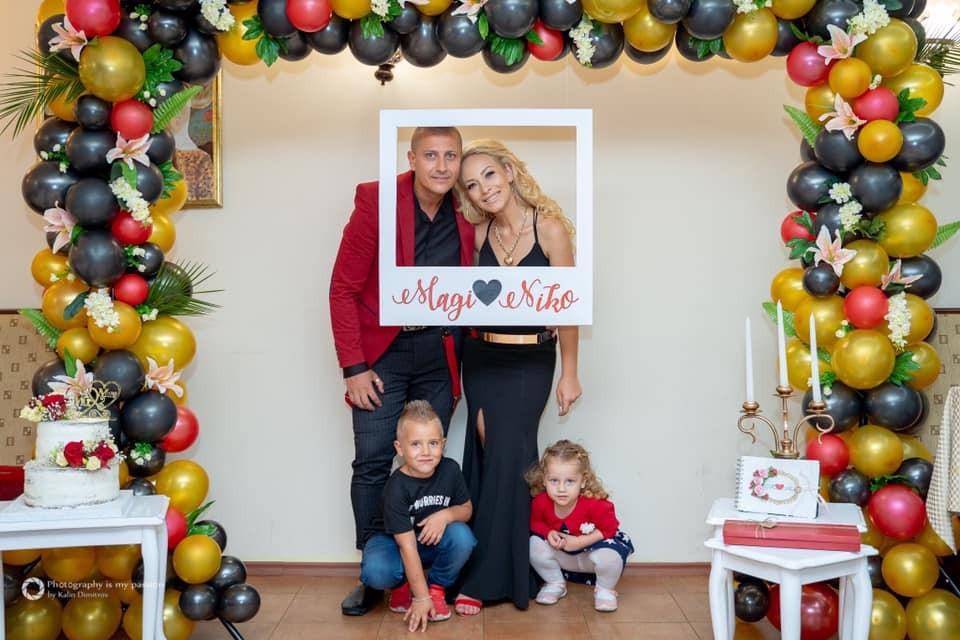 Декорация на фотокът за годишнина от сватба на семейство